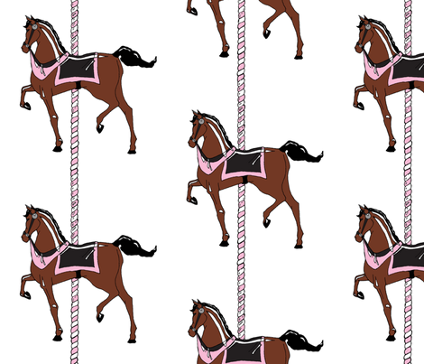 Pink Girl's Carousel Pony fabric by pond_ripple on Spoonflower - custom fabric