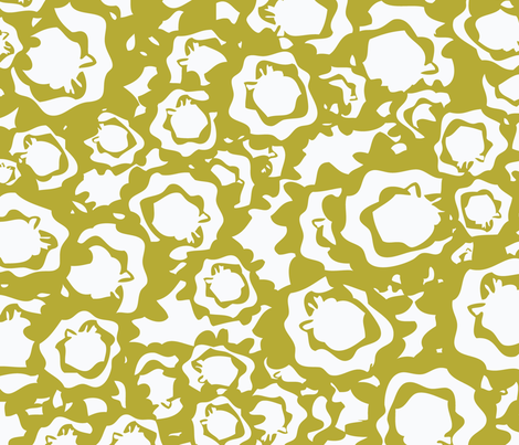Field of Blooms - Chartruese fabric by owlandchickadee on Spoonflower - custom fabric