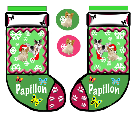 Papillon Cut and Sew Christmas stockng fabric by dogdaze_ on Spoonflower - custom fabric