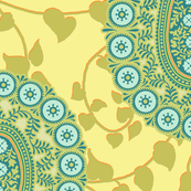 peaceful paisley aqua 18 inch repeat