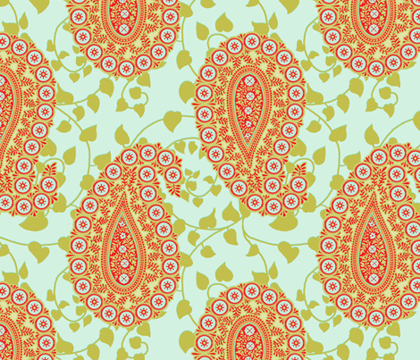 peaceful paisley spa mid scale fabric by littlerhodydesign on Spoonflower - custom fabric