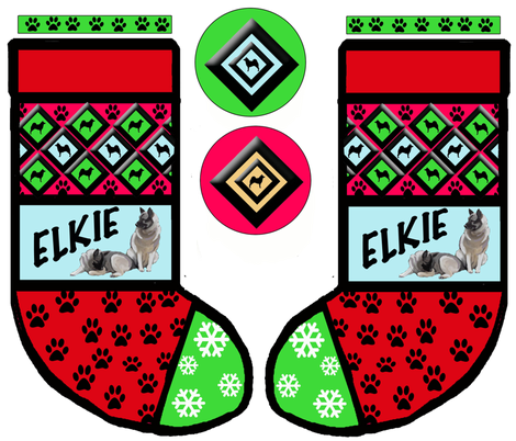 Cut and Sew Norwegian Elkhound Christmas Stocking
