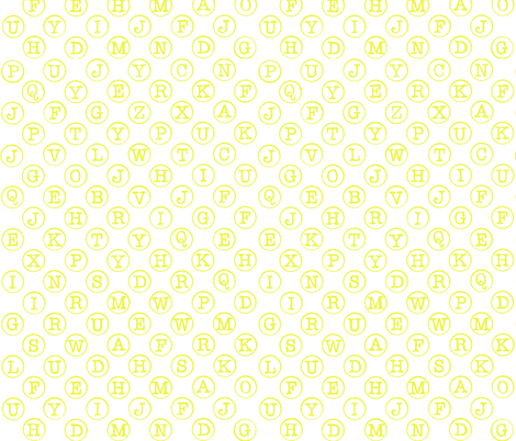 typewriter acid yellow on white fabric by littlemissquarter on Spoonflower - custom fabric