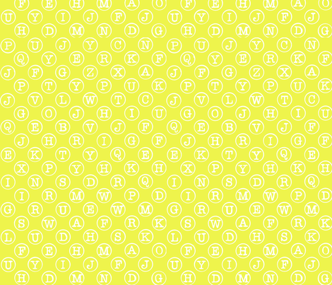 typewriter keys - white on acid yellow fabric by littlemissquarter on Spoonflower - custom fabric