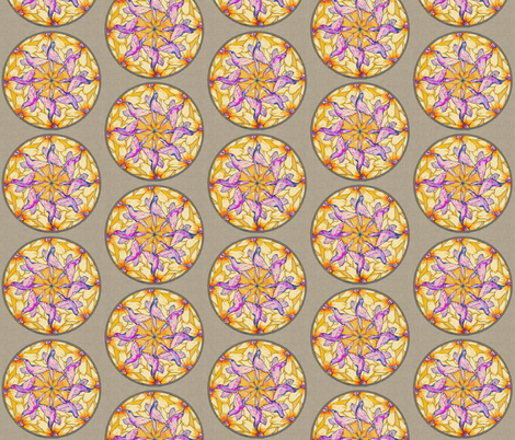 hummingbird_mandala_linen fabric by holli_zollinger on Spoonflower - custom fabric