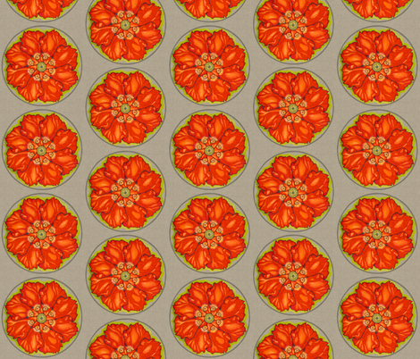 red_poppy_mandala_linen fabric by holli_zollinger on Spoonflower - custom fabric