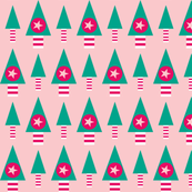 Retro Christmas Trees- Pink