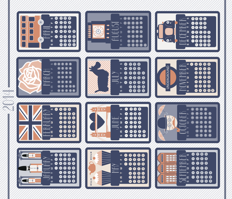 2014 british calendar ! fabric by demigoutte on Spoonflower - custom fabric