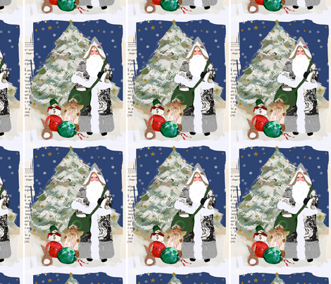 Father Christmas Snowy Scene fabric by karenharveycox on Spoonflower - custom fabric