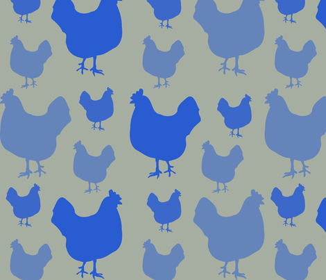 Hens in Blue fabric by pininkie on Spoonflower - custom fabric
