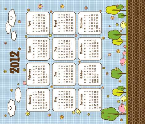Kotori_2012_Calendar fabric by theoberry on Spoonflower - custom fabric