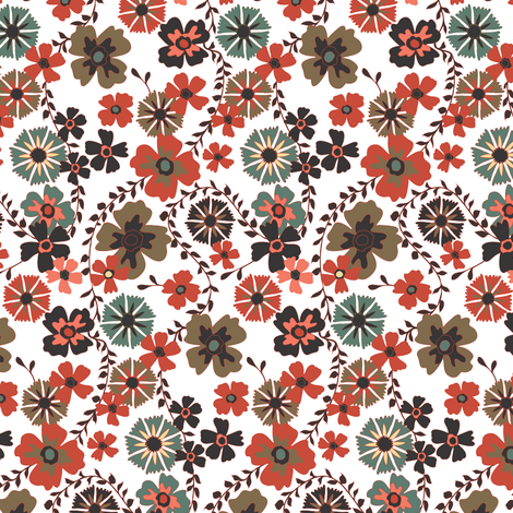 Retro Floral fabric by kezia on Spoonflower - custom fabric