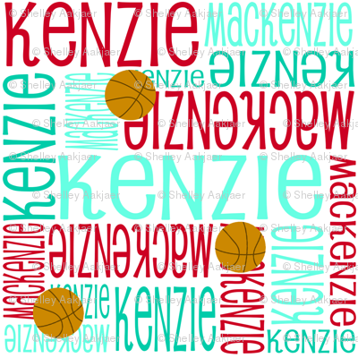 Personalised Name Fabric - Red and Turquoises Basketball