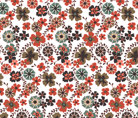 Retro Floral Large fabric by kezia on Spoonflower - custom fabric