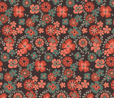 dark floral fabric by kezia on Spoonflower - custom fabric