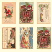 "Xmas postcards w/dogsled Santa & Dogsled 4"" x 2.5"" images--see both listings for a larger image size"
