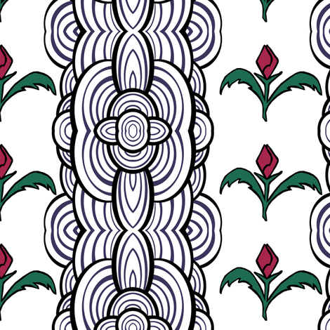 Funky Floral Stripe fabric by pond_ripple on Spoonflower - custom fabric