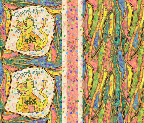 Fancy Schmantzy Catnip Cat fabric by peggytoole on Spoonflower - custom fabric