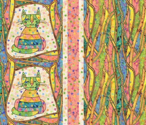 Fancy Schmantzy Garden Cat fabric by peggytoole on Spoonflower - custom fabric