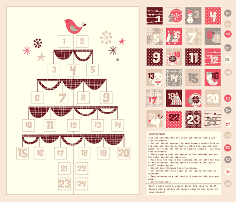 birdy advent calendar fabric by amel24 on Spoonflower - custom fabric