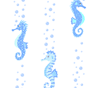 Seahorses and bubbles on white bg Large