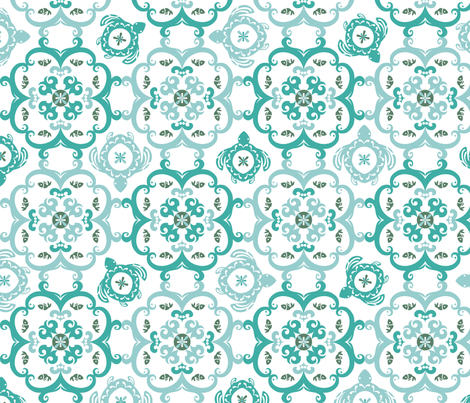 Hawaiian Sea Turtles Cheater Quilt, Sea Foam Coordinate - © Lucinda Wei fabric by lucindawei on Spoonflower - custom fabric