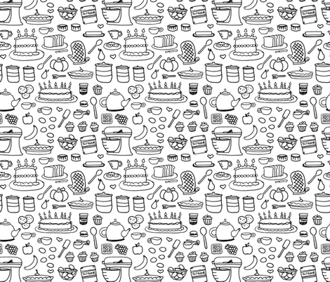 Sketchy Kitchen - Black and White fabric by jesseesuem on Spoonflower - custom fabric