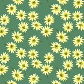 Retro Yellow Sunflower Sprinkly on green