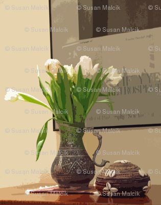 Still LIfe with Tulips in Afghani Metal Pitcher and Djibouti Straw Basket with Cowrie Shells