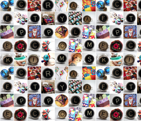 Typewriter Keys Mosaic fabric by persimondreams on Spoonflower - custom fabric