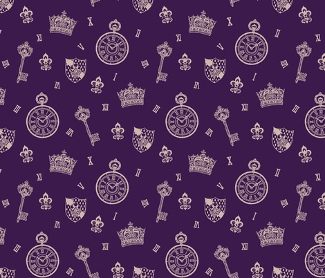Antique Pocket-Watch, Crown and Keys Royal Purple fabric by teja_jamilla on Spoonflower - custom fabric