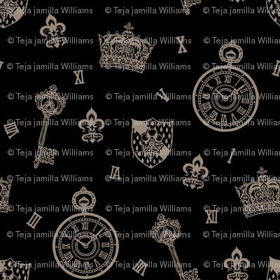 Antique Pocket-Watch, Crown and Keys Black + Grey