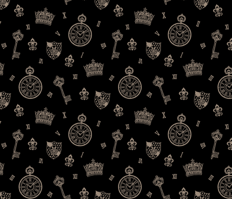Antique Pocket-Watch, Crown and Keys Black + Grey fabric by teja_jamilla on Spoonflower - custom fabric
