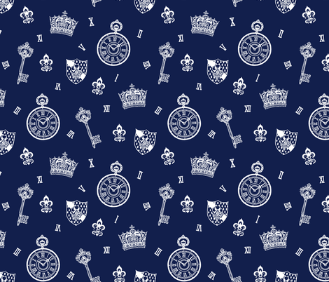 Antique Pocket-Watch, Crown and Keys Navy + Cream fabric by teja_jamilla on Spoonflower - custom fabric