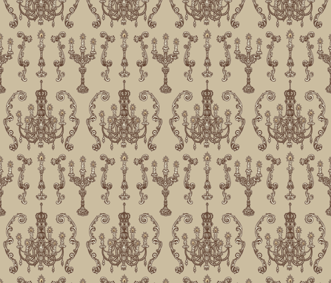 Chandelier and Candelabras Brown fabric by teja_jamilla on Spoonflower - custom fabric