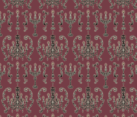 Chandelier and Candelabras Purple fabric by teja_jamilla on Spoonflower - custom fabric