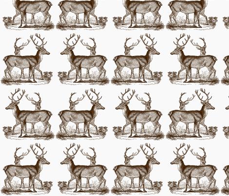 Vintage Deer --Brown fabric by icarpediem on Spoonflower - custom fabric