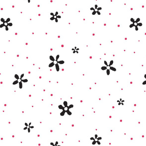 Black Flowers Red Polka Dots