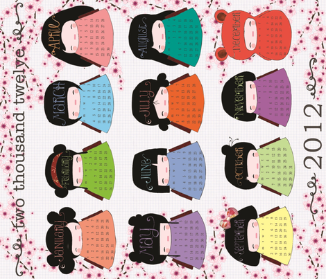Kokeshi Calendar 2012 fabric by hushaby&quirksdesigns on Spoonflower - custom fabric