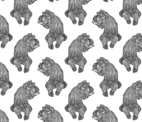 Mini Schnauzer frog pose sketch - B/W fabric by rusticcorgi on Spoonflower - custom fabric