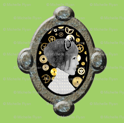 Cameo Girl with cogs - Green (Please zoom for more detail)