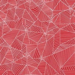 White Spiderwebs on Red Background