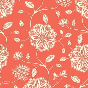 Floral Vines Coral