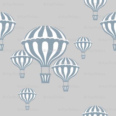 Hot Air Balloons in Slate Blue on Light Gray