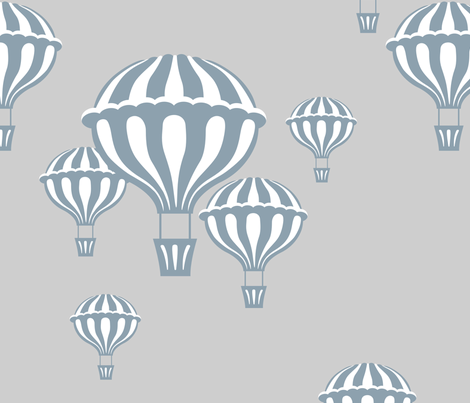 Hot Air Balloons in Slate Blue on Light Gray  fabric by katphillipsdesigns on Spoonflower - custom fabric
