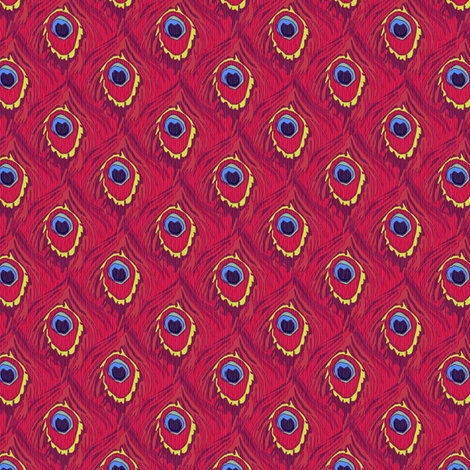 peacock_by_the_numbers pomegranate fabric by glimmericks on Spoonflower - custom fabric