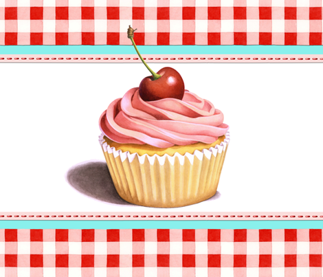 Pink Cupcake with Red Gingham by Patricia Shea fabric by patricia_shea on Spoonflower - custom fabric