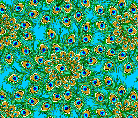 Peacock by the Numbers fabric by glimmericks on Spoonflower - custom fabric