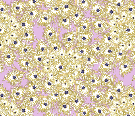 Peacock by the Numbers - Golden Glow fabric by glimmericks on Spoonflower - custom fabric
