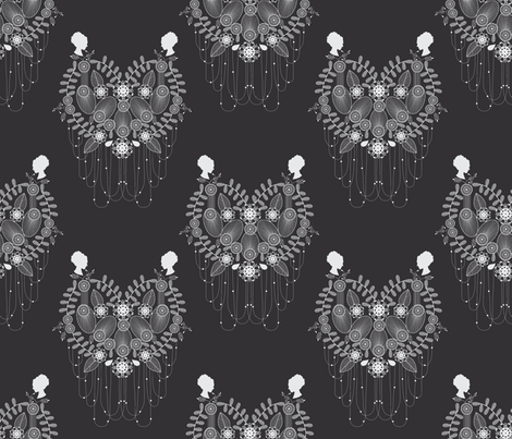 Crown Jewels black fabric by danielle_b on Spoonflower - custom fabric
